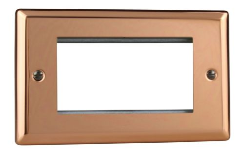 Varilight XYG4.CU Urban Polished Copper DataGrid Twin Plate (4 DataGrid Spaces)